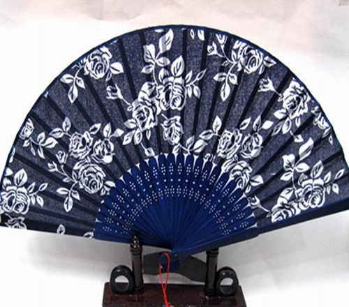 蓝印花布扇子女式折扇