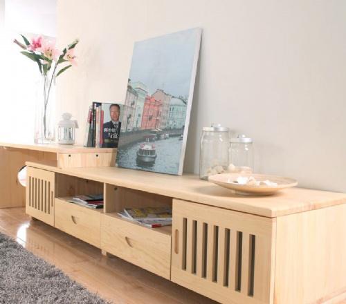 客厅烤漆实木特价电视柜组合伸缩简约田园松木家具