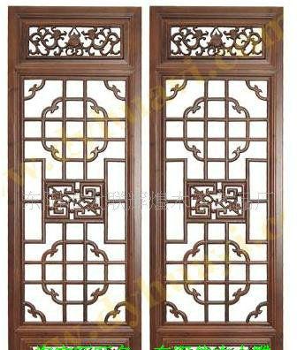 仿古木雕格子门窗
