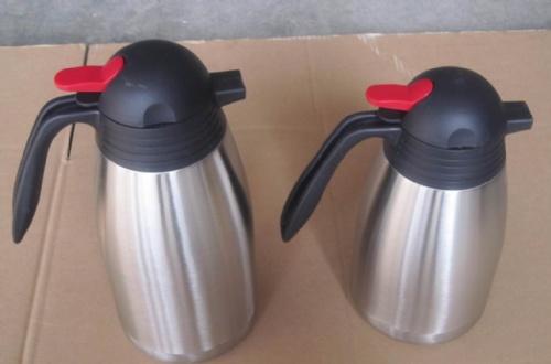 浙江高档双层不锈钢咖啡壶热水壶保温壶圆盖壶