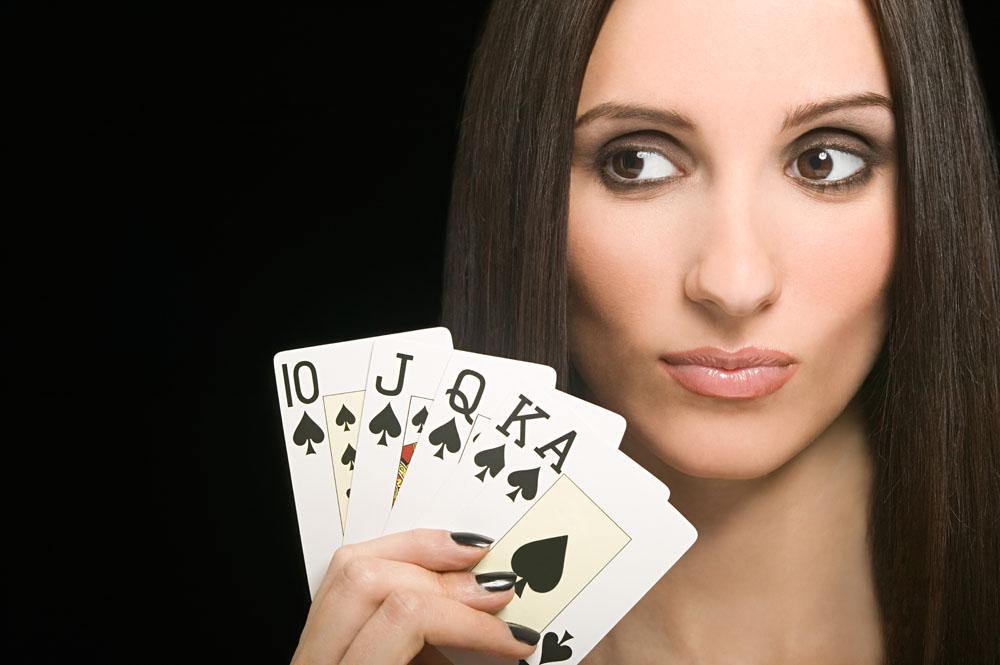 美女扑克写实素材