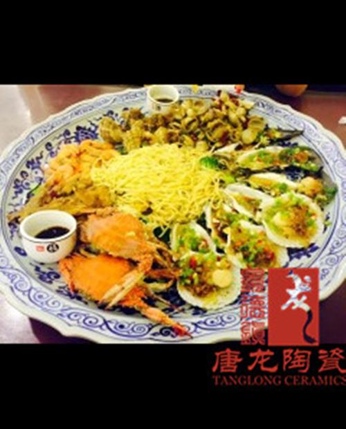 酒店海鲜大餐盘陶瓷手工大餐