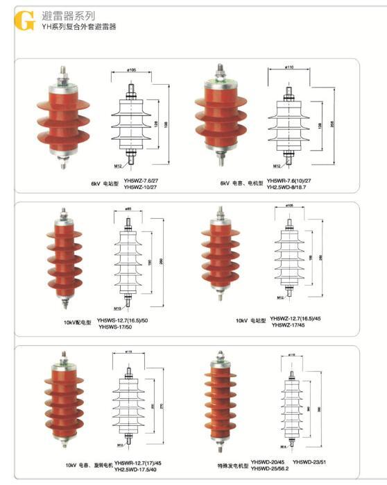 【YH5WX1-17/50】避雷器 瓷套